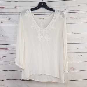 JOIE White Embroidered Detail Top